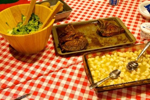 Salad, Steak, and Scallops