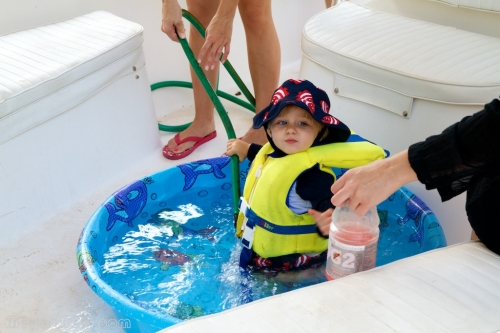 Liam in his pool