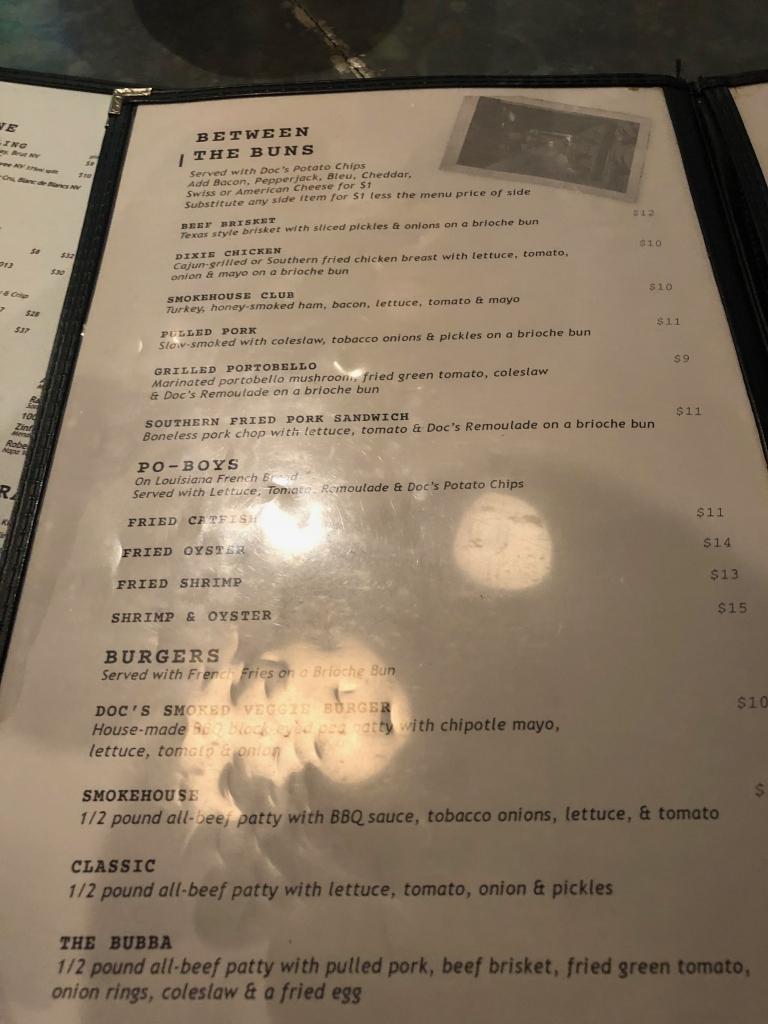 Menu at Doc Crows Steakhouse & Raw Bar
